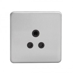 Knightsbridge Screwless Brushed Chrome 5A Unswitched Round Pin Socket - Black Insert