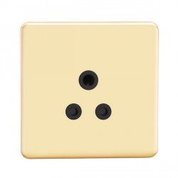 Knightsbridge Screwless Polished Brass 5A Unswitched Round Pin Socket - Black Insert
