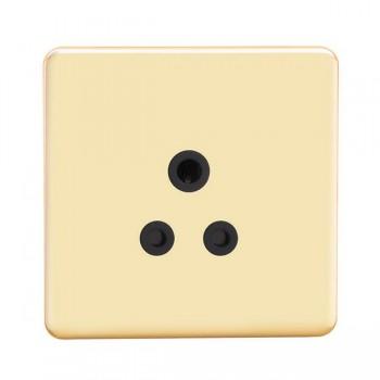 Knightsbridge Screwless Polished Brass 5A Unswitched Round Pin Socket - Black Insert