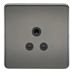 Knightsbridge Screwless Black Nickel 5A Unswitched Round Pin Socket - Black Insert