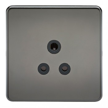 Knightsbridge Screwless Black Nickel 5A Unswitched Round Pin Socket - Black Insert