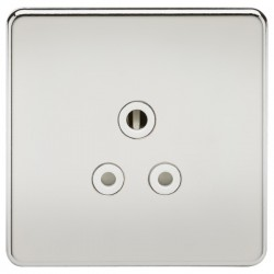 Knightsbridge Screwless Polished Chrome 5A Unswitched Round Pin Socket - White Insert