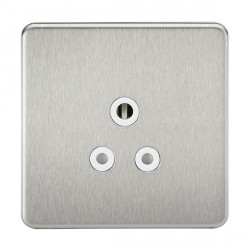 Knightsbridge Screwless Brushed Chrome 5A Unswitched Round Pin Socket - White Insert
