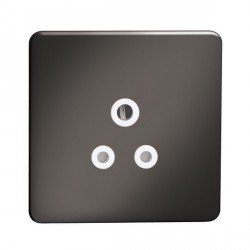 Knightsbridge Screwless Black Nickel 5A Unswitched Round Pin Socket - White Insert