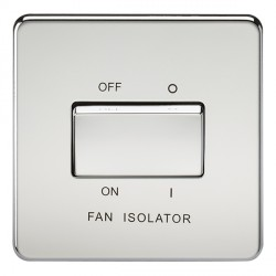 Knightsbridge Screwless Polished Chrome 10A 3 Pole Fan Isolator Switch