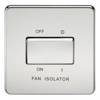 Knightsbridge Screwless Polished Chrome 10A 3 Pole Fan Isolator Switch