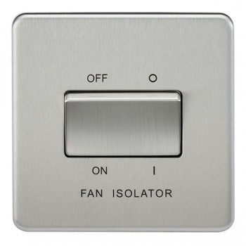Knightsbridge Screwless Brushed Chrome 10A 3 Pole Fan Isolator Switch