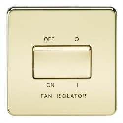 Knightsbridge Screwless Polished Brass 10A 3 Pole Fan Isolator Switch