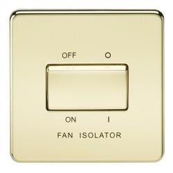 Knightsbridge Screwless Polished Brass 10A 3 Pole Fan Isolator Switch