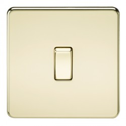 Knightsbridge Screwless Polished Brass 10A 1 Gang Intermediate Switch