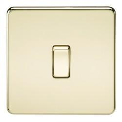 Knightsbridge Screwless Polished Brass 10A 1 Gang Intermediate Switch