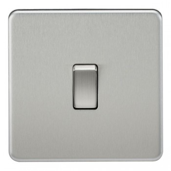 Knightsbridge Screwless Brushed Chrome 10A 1 Gang 2 Way Switch