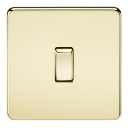 Knightsbridge Screwless Polished Brass 10A 1 Gang 2 Way Switch