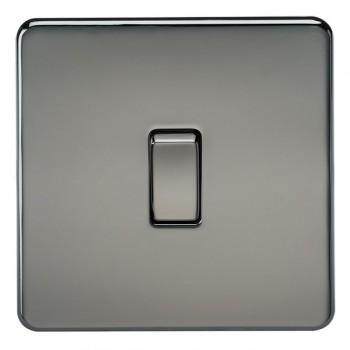 Knightsbridge Screwless Black Nickel 10A 1 Gang 2 Way Switch