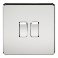 Knightsbridge Screwless Polished Chrome 10A 2 Gang 2 Way Switch