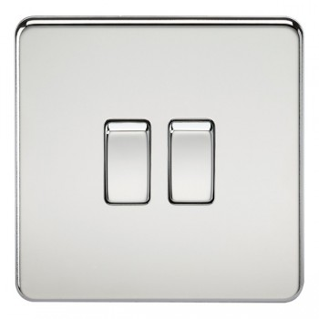 Knightsbridge Screwless Polished Chrome 10A 2 Gang 2 Way Switch
