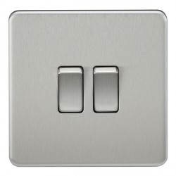 Knightsbridge Screwless Brushed Chrome 10A 2 Gang 2 Way Switch