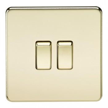 Knightsbridge Screwless Polished Brass 10A 2 Gang 2 Way Switch