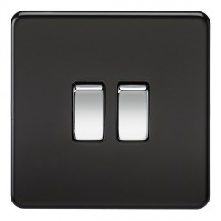 Knightsbridge Screwless Matt Black and Chrome 10A 2 Gang 2 Way Switch