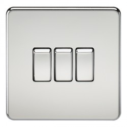 Knightsbridge Screwless Polished Chrome 10A 3 Gang 2 Way Switch
