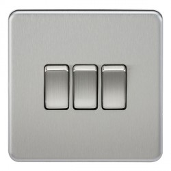 Knightsbridge Screwless Brushed Chrome 10A 3 Gang 2 Way Switch