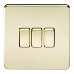 Knightsbridge Screwless Polished Brass 10A 3 Gang 2 Way Switch