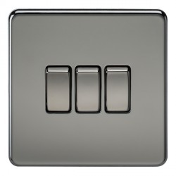 Knightsbridge Screwless Black Nickel 10A 3 Gang 2 Way Switch
