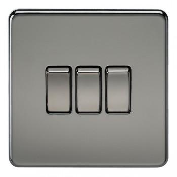 Knightsbridge Screwless Black Nickel 10A 3 Gang 2 Way Switch