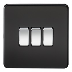 Knightsbridge Screwless Matt Black and Chrome 10A 3 Gang 2 Way Switch