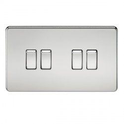 Knightsbridge Screwless Polished Chrome 10A 4 Gang 2 Way Switch