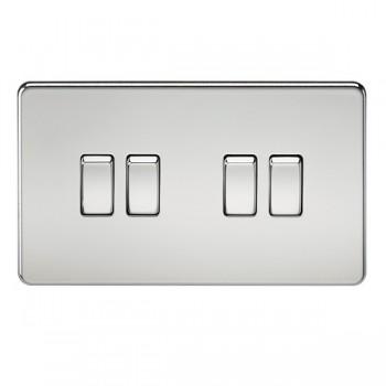 Knightsbridge Screwless Polished Chrome 10A 4 Gang 2 Way Switch