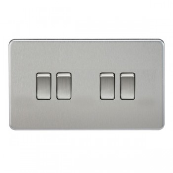 Knightsbridge Screwless Brushed Chrome 10A 4 Gang 2 Way Switch