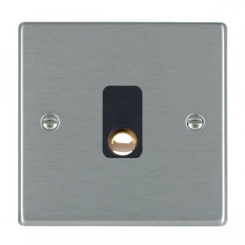 Hamilton Hartland Satin Steel 20A Cable Outlet with Black Insert