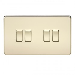 Knightsbridge Screwless Polished Brass 10A 4 Gang 2 Way Switch