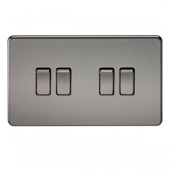 Knightsbridge Screwless Black Nickel 10A 4 Gang 2 Way Switch