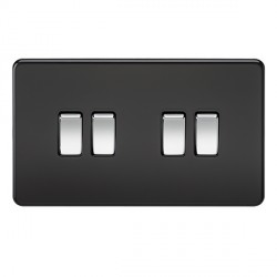 Knightsbridge Screwless Matt Black and Chrome 10A 4 Gang 2 Way Switch