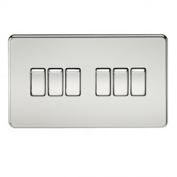 Knightsbridge Screwless Polished Chrome 10A 6 Gang 2 Way Switch