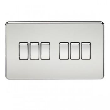 Knightsbridge Screwless Polished Chrome 10A 6 Gang 2 Way Switch
