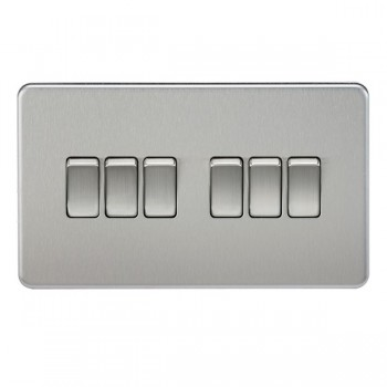 Knightsbridge Screwless Brushed Chrome 10A 6 Gang 2 Way Switch