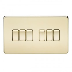 Knightsbridge Screwless Polished Brass 10A 6 Gang 2 Way Switch
