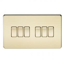Knightsbridge Screwless Polished Brass 10A 6 Gang 2 Way Switch