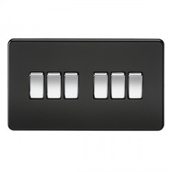 Knightsbridge Screwless Matt Black 10A 6 Gang 2 Way Switch