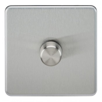 Knightsbridge Screwless Brushed Chrome 1 Gang 2 Way 40-400W LED Dimmer