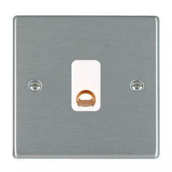 Hamilton Hartland Satin Steel 20A Cable Outlet with White Insert