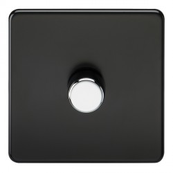 Knightsbridge Screwless Matt Black 1 Gang 2 Way 40-400W LED Dimmer