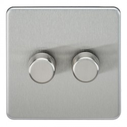 Knightsbridge Screwless Brushed Chrome 2 Gang 2 Way 40-400W LED Dimmer