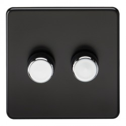 Knightsbridge Screwless Matt Black 2 Gang 2 Way 40-400W LED Dimmer