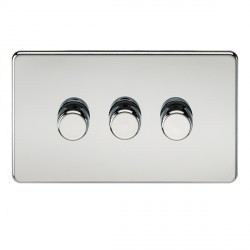 Knightsbridge Screwless Polished Chrome 3 Gang 2 Way 40-400W LED Dimmer