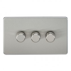 Knightsbridge Screwless Brushed Chrome 3 Gang 2 Way 40-400W LED Dimmer