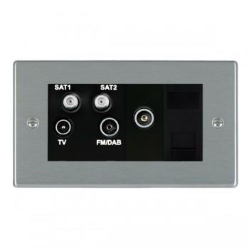Hamilton Hartland Satin Steel TV+FM+SAT+SAT+TV+TCS (DAB Compatible) with Black Insert